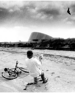 Normandy, France, June, 1994:  Kite-flying on Utah Beach