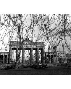 Brandenburg Gate blocked by barbed wire, 1961