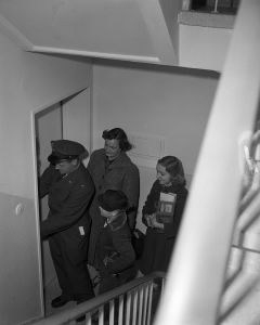 Arrivals at the new Crestview Housing Area in Wiesbaden, 1953