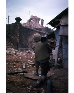 A Marine takes aim at Dong Ba Tower with M20 Super Bazooka, 1968