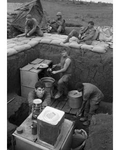 Marines cook in kitchen facility at Khe Sanh, 1968