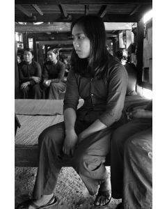 Female Viet Cong prisoner inside the women's quarters, 1968